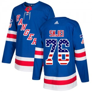 Adult Authentic New York Rangers Brady Skjei Royal Blue USA Flag Fashion Official Adidas Jersey