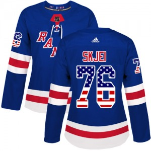 Women's Authentic New York Rangers Brady Skjei Royal Blue USA Flag Fashion Official Adidas Jersey