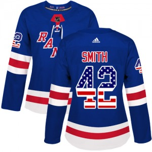 Women's Authentic New York Rangers Brendan Smith Royal Blue USA Flag Fashion Official Adidas Jersey