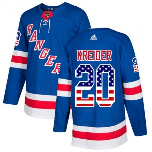Adult Authentic New York Rangers Chris Kreider Royal Blue USA Flag Fashion Official Adidas Jersey