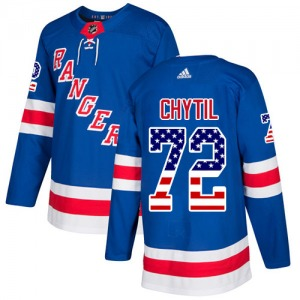 Adult Authentic New York Rangers Filip Chytil Royal Blue USA Flag Fashion Official Adidas Jersey
