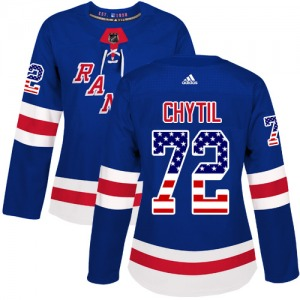Women's Authentic New York Rangers Filip Chytil Royal Blue USA Flag Fashion Official Adidas Jersey