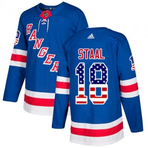 Adult Authentic New York Rangers Marc Staal Royal Blue USA Flag Fashion Official Adidas Jersey