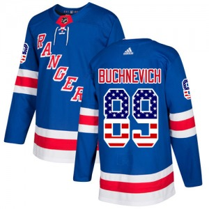 Adult Authentic New York Rangers Pavel Buchnevich Royal Blue USA Flag Fashion Official Adidas Jersey