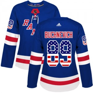 Women's Authentic New York Rangers Pavel Buchnevich Royal Blue USA Flag Fashion Official Adidas Jersey