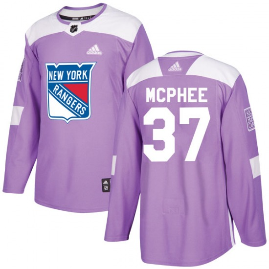Adult Authentic New York Rangers George Mcphee Purple Fights Cancer Practice Official Adidas Jersey
